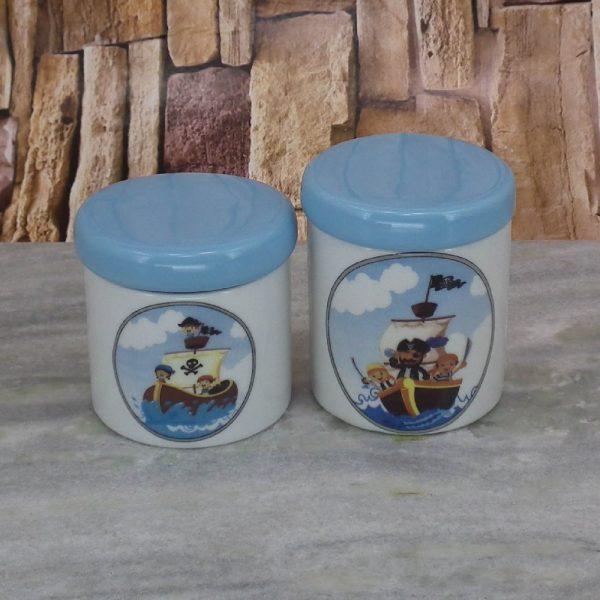 Pote Porcel. Peqno Piratinhas C_Tampa Azul Bebe